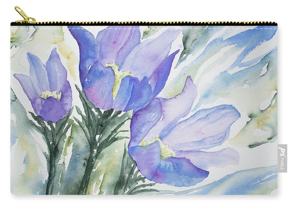 Watercolor - Pasque Flowers Carry-all Pouch