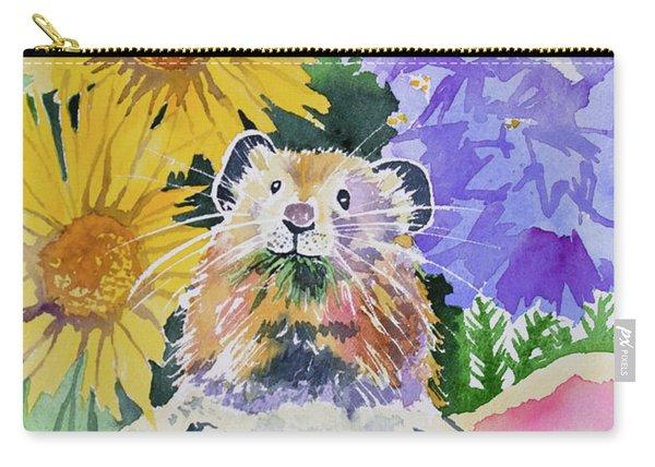 Watercolor - Pika With Wildflowers Carry-all Pouch