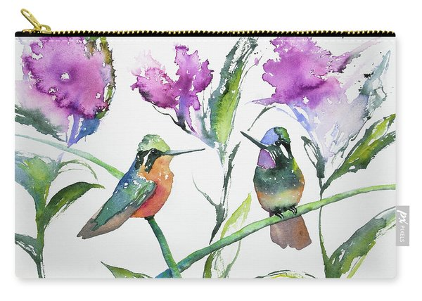 Watercolor - Purple-throated Mountain Gems And Flowers Carry-all Pouch