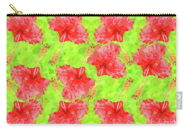 Watercolor Red Hibiscus Tropical Aloha Botanical Carry-all Pouch
