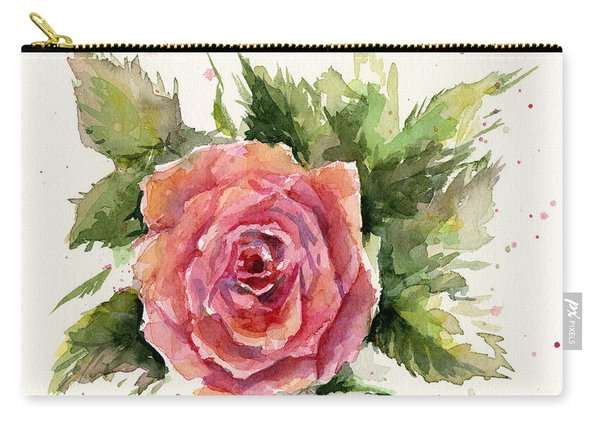 Watercolor Rose Carry-all Pouch