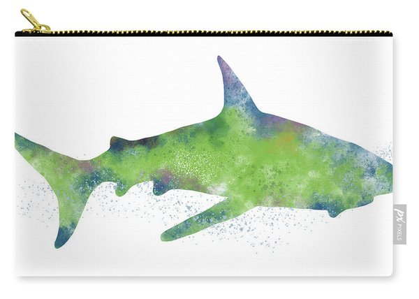 Watercolor Shark 2-art By Linda Woods Carry-all Pouch