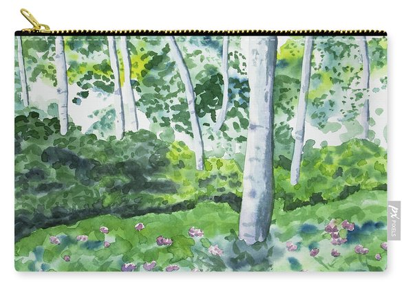 Watercolor - Spring Forest And Flowers Carry-all Pouch