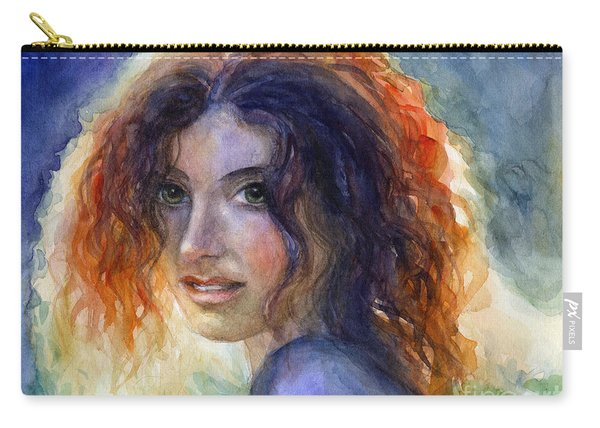 Watercolor Sunlit Woman Portrait 2 Carry-all Pouch