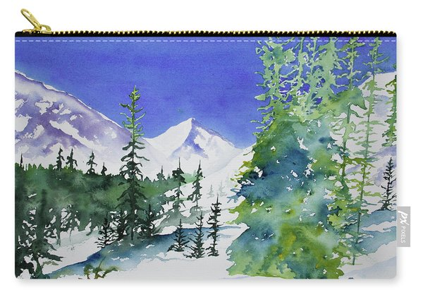 Watercolor - Sunny Winter Day In The Mountains Carry-all Pouch