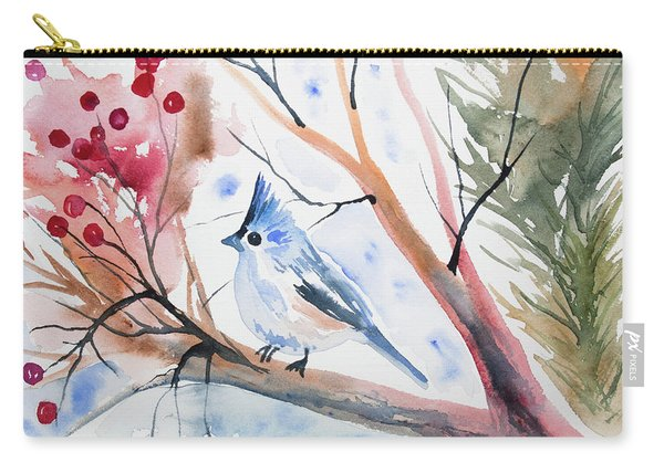Watercolor - Tufted Titmouse With Winter Berries Carry-all Pouch