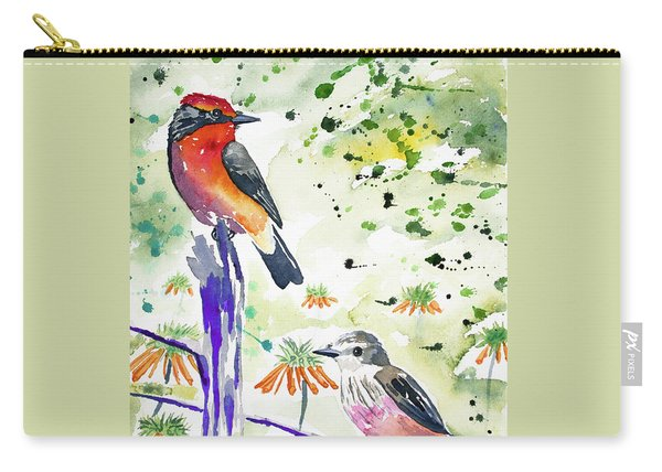 Watercolor - Vermilion Flycatcher Pair In Quito Carry-all Pouch