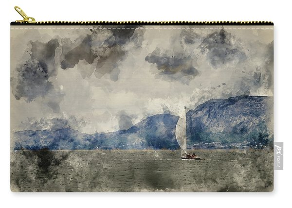 Watercolour Painting Of Small Sailing Boat On Menai Straits In Anglesey Wales. Carry-all Pouch