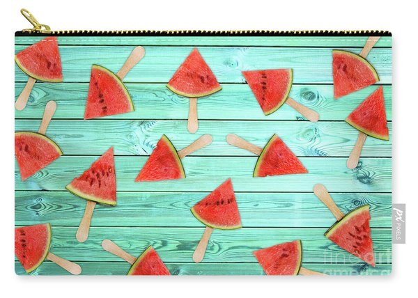Watermelon Popsicles On Blue Carry-all Pouch