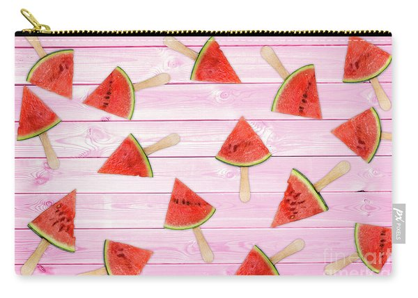 Watermelon Popsicles On Pink Carry-all Pouch