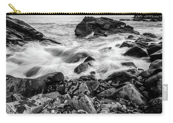 Waves Against A Rocky Shore In Bw Carry-all Pouch
