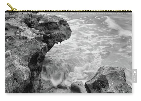 Waves And Coquina Rocks, Jupiter, Florida #39358-bw Carry-all Pouch