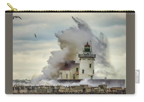 Waves Over The Lighthouse In Cleveland. Carry-all Pouch