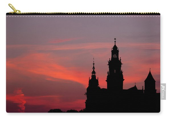 Wawel Castle And Cathedral Silhouette In Krakow Carry-all Pouch