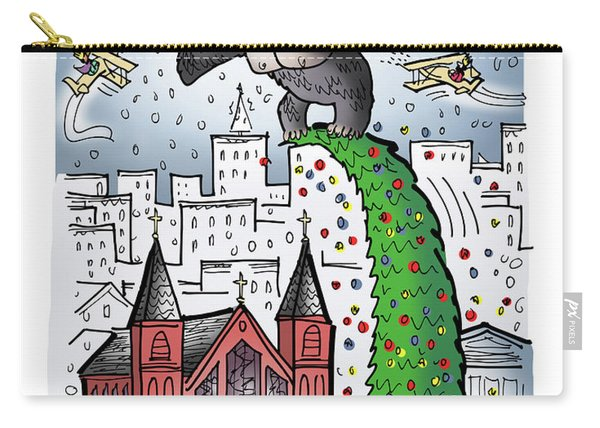 Carry-all Pouch featuring the digital art King Kong Kristmas by Mark Armstrong
