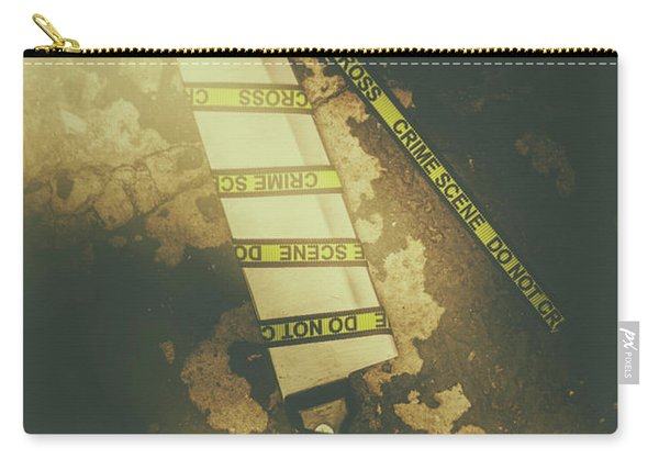 Weapon Wrapped In Yellow Crime Scene Ribbon Carry-all Pouch