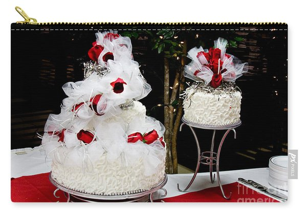 Wedding Cake And Red Roses Carry-all Pouch