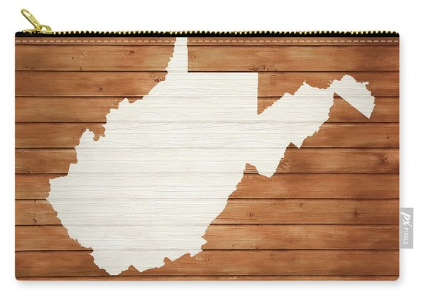 West Virginia Rustic Map On Wood Carry-all Pouch