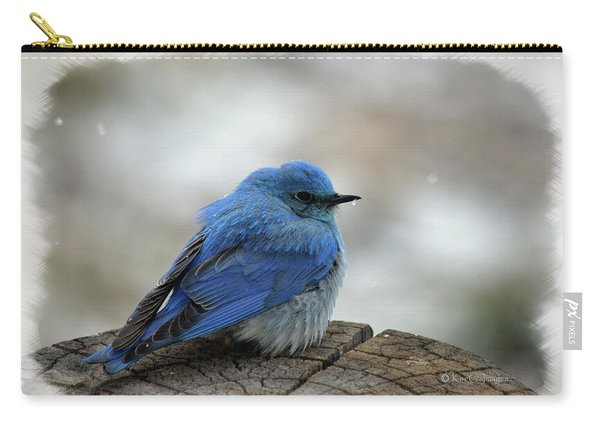 Western Bluebird On Cold Day Carry-all Pouch