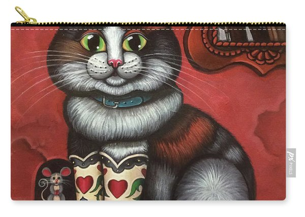 Western Boots Cat Painting Carry-all Pouch