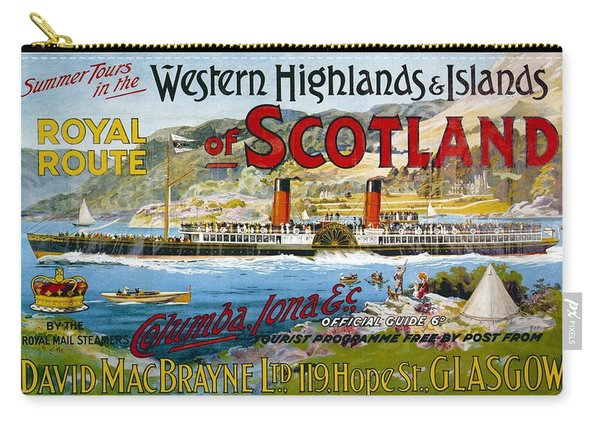 Western Highlands And Islands Of Scotland - Steamship - Retro Travel Poster - Vintage Poster Carry-all Pouch