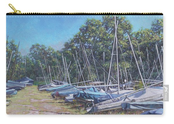 Carry-all Pouch featuring the painting Weston Shore Boats At Yacht Club, Southampton by Martin Davey