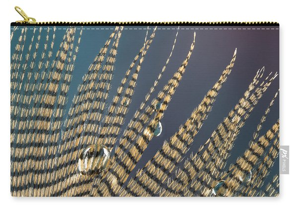 Wet Drop On Wood Duck Feather Carry-all Pouch