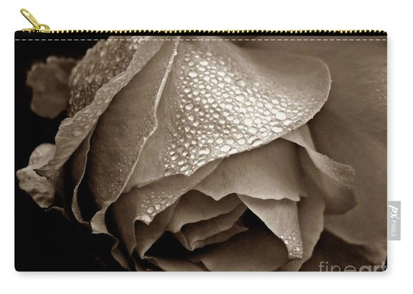 Wet Rose In Sepia Carry-all Pouch