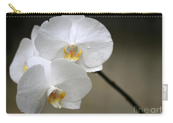 Wet White Orchids Carry-all Pouch