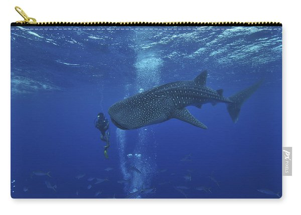 Whale Shark And Diver, Maldives Carry-all Pouch