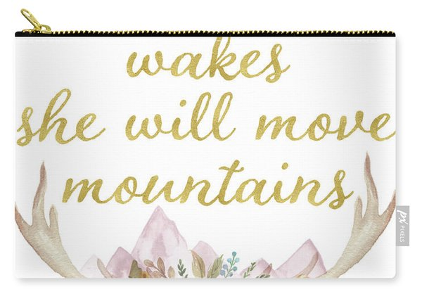 When She Wakes She Will Move Mountains Deer Antlers Carry-all Pouch