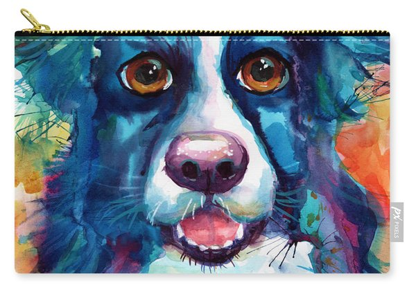 Whimsical Border Collie Dog Portrait Carry-all Pouch