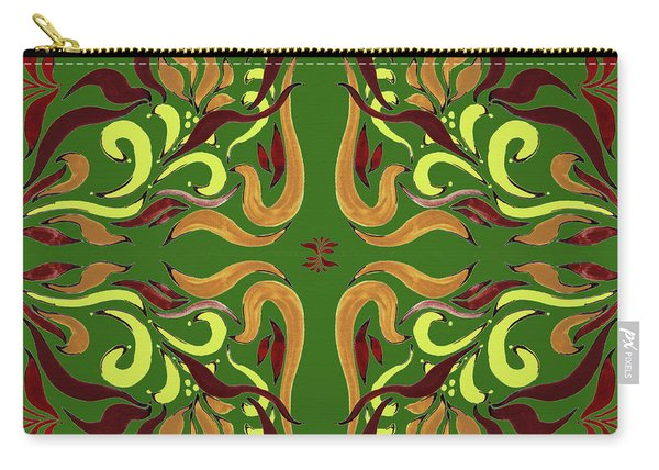 Whimsical Organic Pattern In Yellow And Green I Carry-all Pouch
