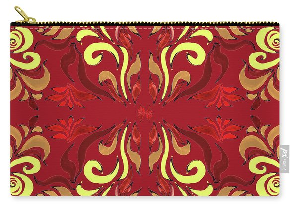Whimsical Organic Pattern In Yellow And Red II Carry-all Pouch