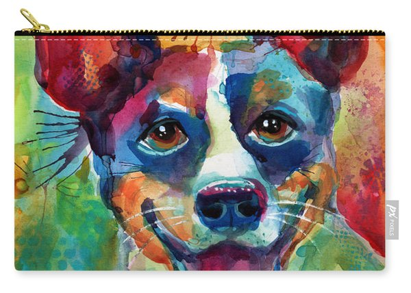 Whimsical Rat Terrier Dog Painting Carry-all Pouch