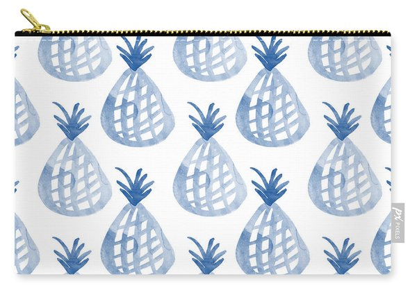 White And Blue Pineapple Party Carry-all Pouch