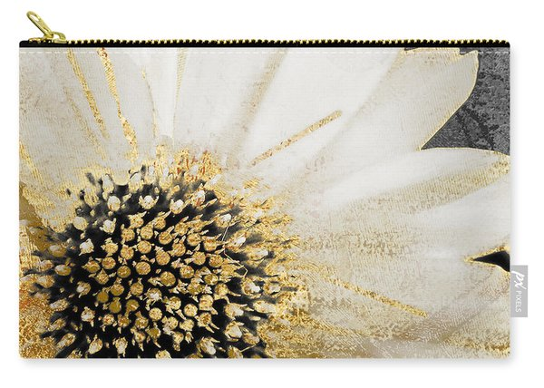 White And Gold Daisy Carry-all Pouch