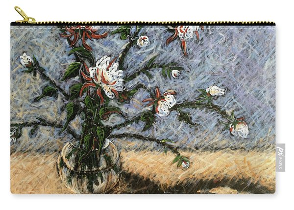 White And Red Dahlias Carry-all Pouch