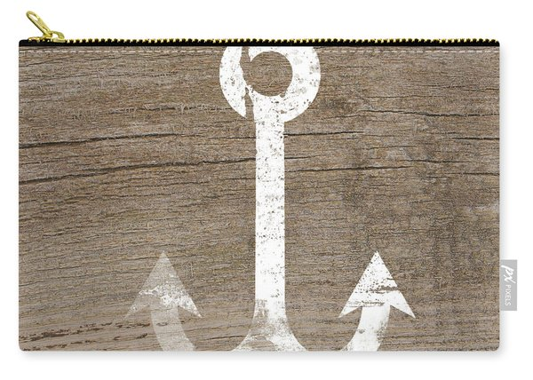 White And Wood Anchor- Art By Linda Woods Carry-all Pouch
