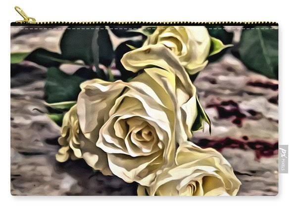 White Baby Roses Carry-all Pouch