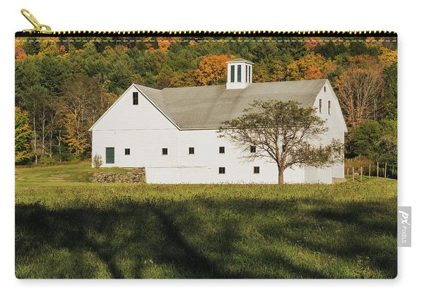 Carry-all Pouch featuring the photograph White Barn In Color by Tom Singleton