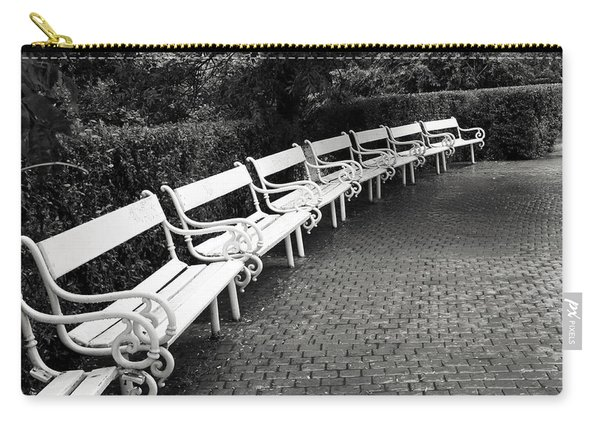 White Benches-  By Linda Wood Woods Carry-all Pouch