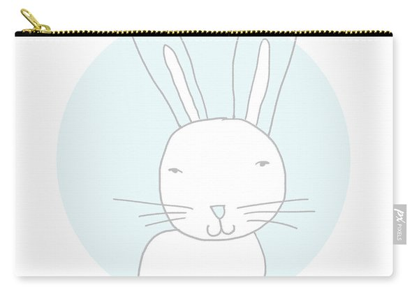 White Bunny On Blue- Art By Linda Woods Carry-all Pouch
