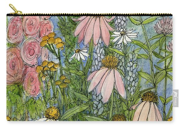 White Coneflowers In Garden Carry-all Pouch