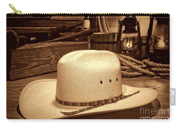 White Cowboy Hat In A Barn Carry-all Pouch
