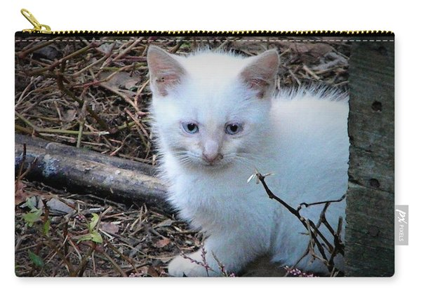 White Feral Kitten Carry-all Pouch