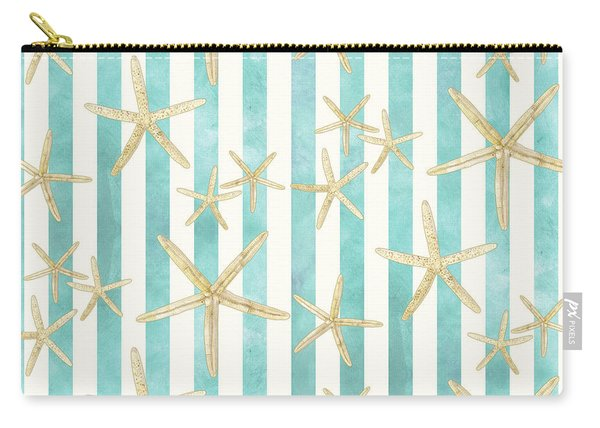 White Finger Starfish Watercolor Stripe Pattern Carry-all Pouch