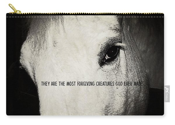 White Grey Quote Carry-all Pouch