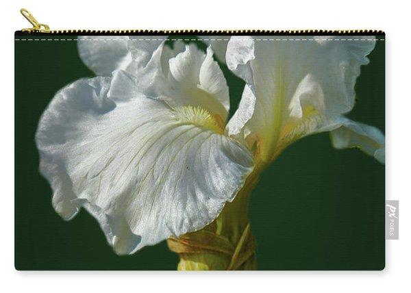 White Iris On Dark Green #g0 Carry-all Pouch