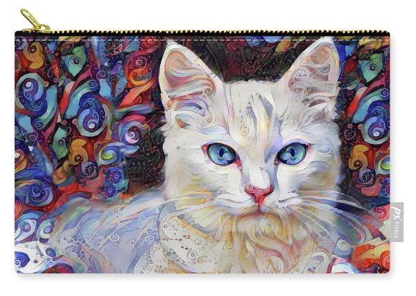 White Kitten With Blue Eyes Carry-all Pouch